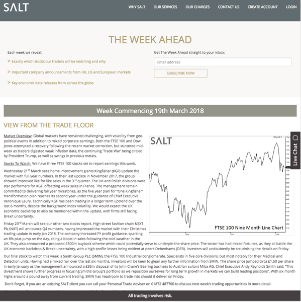Salt trade the week ahead