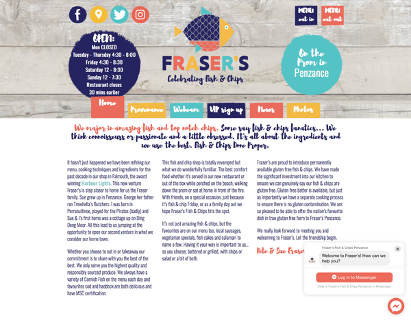 Fraser's Fish & Chips homepage